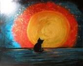 Black Cat Acrylic Painting, Cat in the moonlight, Original Art OOAK, Modern Colorful Wall Art