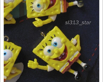 4pcs of Mr. Sponge Plastic Charms