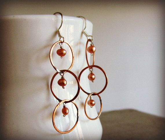 Copper Orbitz Chain Earrings // Wire Wrapped Freshwater Pearl Dangles