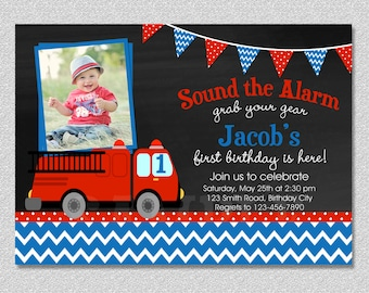 Fire truck Fireman Birthday Invitation , FireTruck Birthday Party Invitation