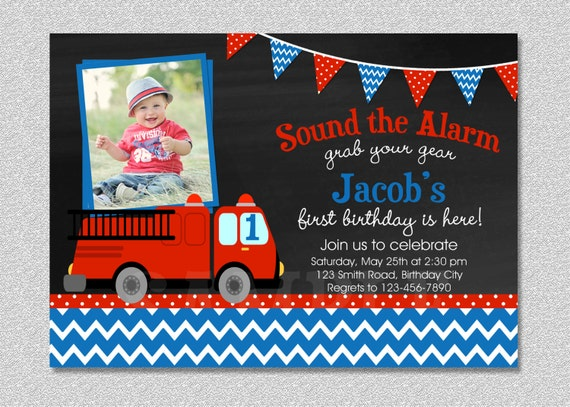 Fire truck Fireman Birthday Invitation FireTruck Birthday – Fireman Party Invitations