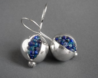 Pomegranate Earrings - pomegranate silver earrings - pomegranate jewelry - silver pomegranate earrings - silver and blue earrings - judaica