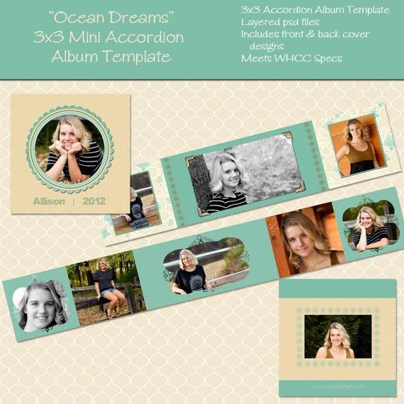 OCEAN DREAMS 3x3 Mini Accordion Template - Perfect for Newborns