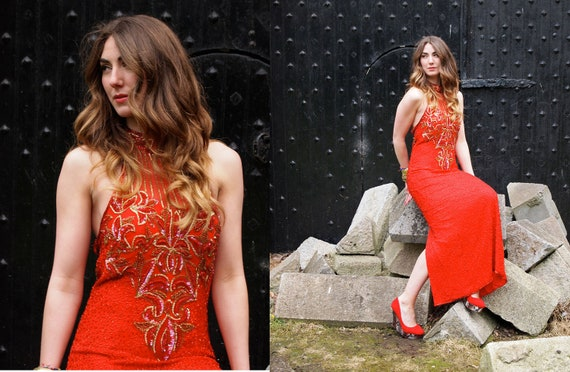 Rubette, Stunning French Vintage, Red Sequin and Bead Encrusted Long Evening Maxi Dress, from Paris