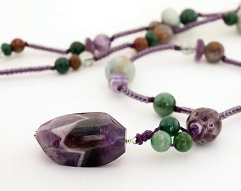 Amethyst, Agate and Amazonite necklace with handmade purple porcelain beads