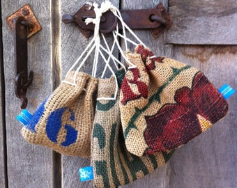 burlap pouch with foe hairties