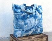 Large Tie Dyed Indigo Blue Denim Studded Fringe Satchel Tote bag