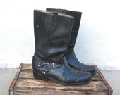 Sale Mens Leather Motorcycle Boots Vintage Worn Black Leather Mens Size 10.5-11