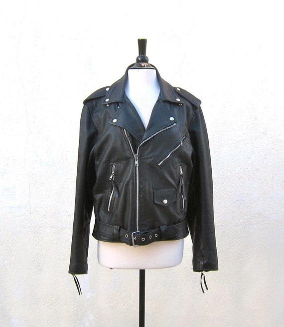 Vintage Harley Davidson Soft Black Leather Motorcycle Biker Jacket Mens Size 42 M/L, Ladies L/XL