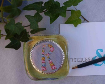 Vintage embroidered petit-point monogram R paperweight, one-of-a-kind, gift for her, chartreuse and pink
