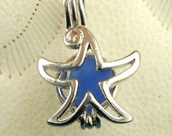 Sea Glass Jewelry Starfish Necklace Cobalt Blue Seaglass Locket