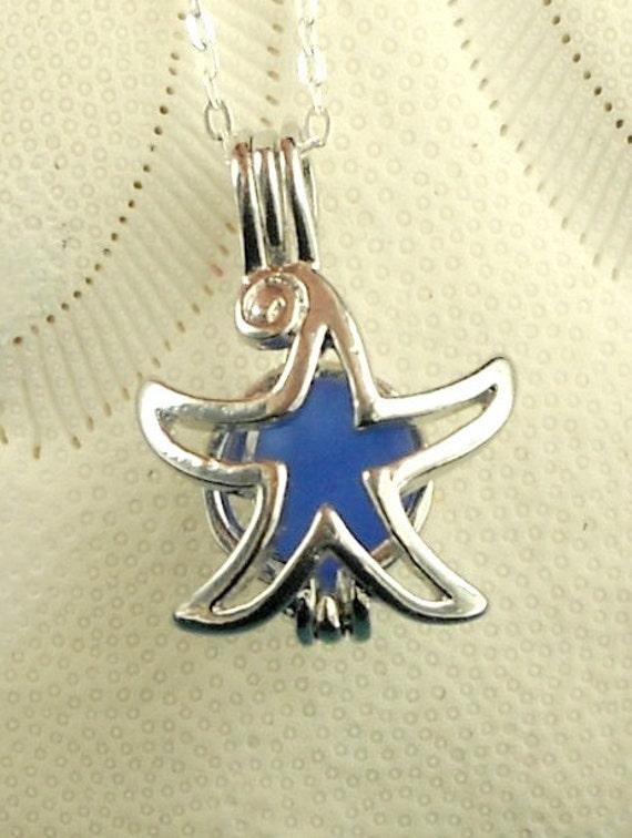 Sea Glass Jewelry Starfish Necklace Cobalt Blue Seaglass Locket