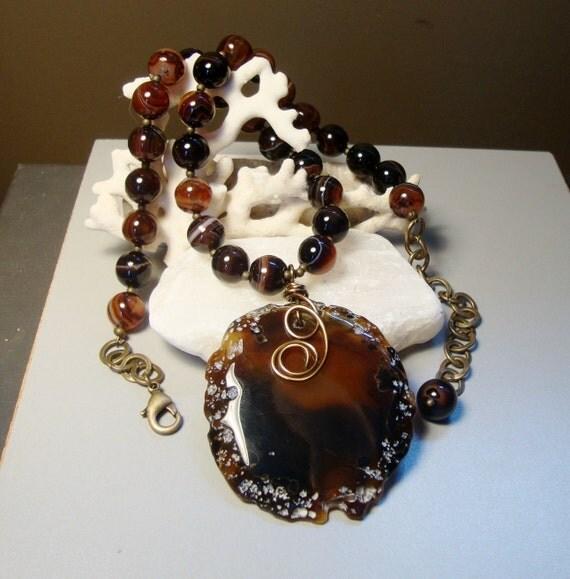 Carnelian Agate Necklace with Hand-Wired Carnelian Agate Pendant