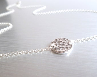 Hammered silver disc necklace - thick rhodium round flat coin pendant on a delicate silver chain - simple and minimalist everyday wear
