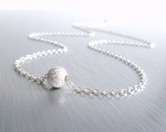 Silver Stardust Ball Necklace - simple little rough textured sparkling sphere on delicate silver plated chain - Fly Me to the Moon