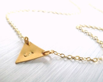 Gold triangle necklace - personalized little raw brass triangle flag pendant w/ your hand stamped initial letter - simple gold plated chain