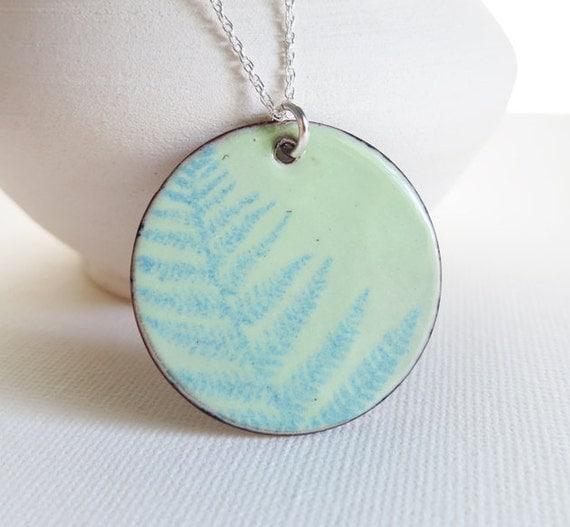SALE - Necklace Enamel - Lichen Green, Sapphire Blue, Fern Plant Foliage, Nature, Fine Enamel Jewelry