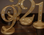Rhinestone Table Numbers for Weddings in Metallic with Bling