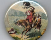 Doggie Riding a Goat 1.25 inch Pin back BUTTON Vintage Image