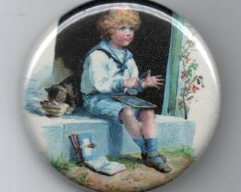 Victorian School Boy on Steps 1.25 inch Pinback Button  Vintage Illustration