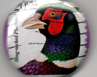 Pheasant, 1 inch Button US Postage Stamp 1990's Precancelled
