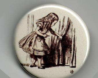 Alice Peeking Through Tiny Door 1.25 inch BUTTON/PIN/BADGE Vintage Tenniel Image