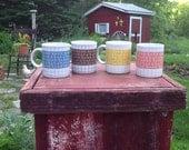 Four Beautiful Vintage Coffee Mugs / Retro Mugs / Four Mugs / Vintage Mugs / Pink Cup / Camp Gear / Camp Mugs / Coffee Cup