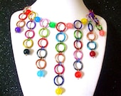 Colorful Chain Necklace- Rainbow Necklace- OOAK Necklace- Chunky Necklace