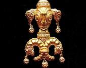 Gold Brooch- Pin Brooch- Dog Brooch- Monet Brooch