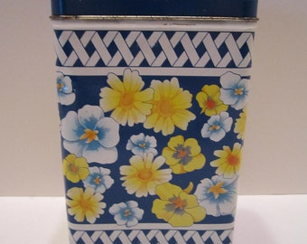 Equal Nutra Sweet Sweetener Yellow Blue Floral Tin