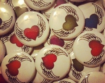 "Winged Heart Buttons - Set of 20 - Pin Back, Hollow Back, or Flat Back Buttons - 1"" Wide Buttons - Party Favors - Birthday Bash"