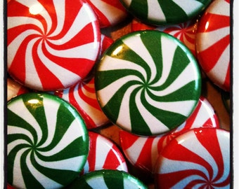 "Peppermint Buttons - Set of 20 - 1"" Flat Back, Pin Back, or Hollow Back Buttons - Your choice - One inch each - Christmas Party Favors"