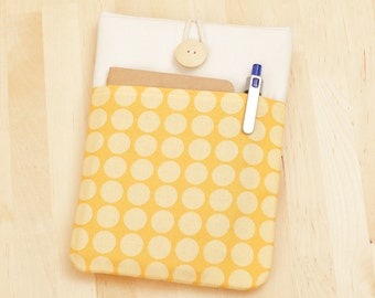 kindle case / kindle Fire HD 6 cover / kindle cover / kindle sleeve / nook glowlight case / kobo Glo case - yellow dots with pockets --