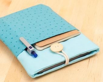 "Kindle 6"" case / Kobo Glo HD sleeve / kindle cover / kindle case / kindle voyage case / kobo aura cover - mini blue dots with pockets --"
