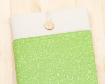iPad Pro 10.5 cover / iPad 9.7 case / iPad Pro 10.5 inch / padded with pockets  - green curls -