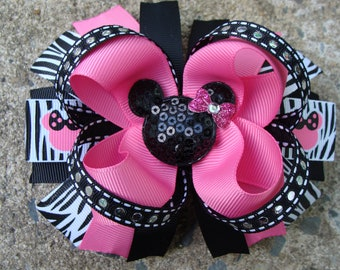 Large Minnie Mouse Hair Bow Boutique Hair Bow Disney Hair Bow