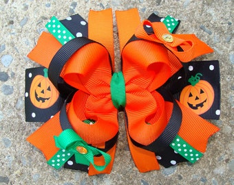 Pamkin Hair Bow Fall Hair Bow Thanksgiving Hair Bow Hair Clip hair bow