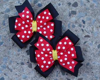 2 Minnie Mouse Hair Bows - Red and Black Minnie Mouse Hair Bows
