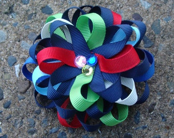 Navy Hair Bow Loopy Flower Hair Bow