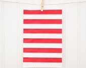PARTY SUPPLIES - Favor Bags - 10 RED Horizontal Stripe Middy Bags