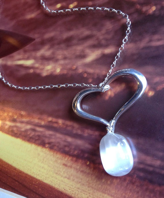 Sterling Silver Selenite Heart Pendant
