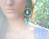 BLUE LAGOON Turquoise, Gold Fill Festival Jewelry, Gypsy, Earthy, Long Dangle Earrings Made to Order