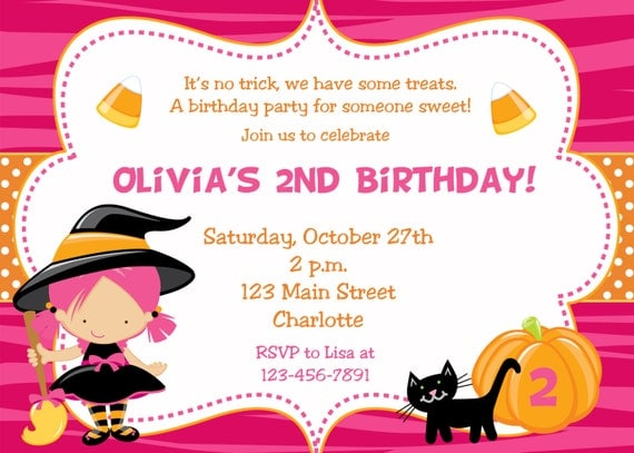 Halloween party invitation --   witch halloween birthday party invitation -- You print or I print - any hair color