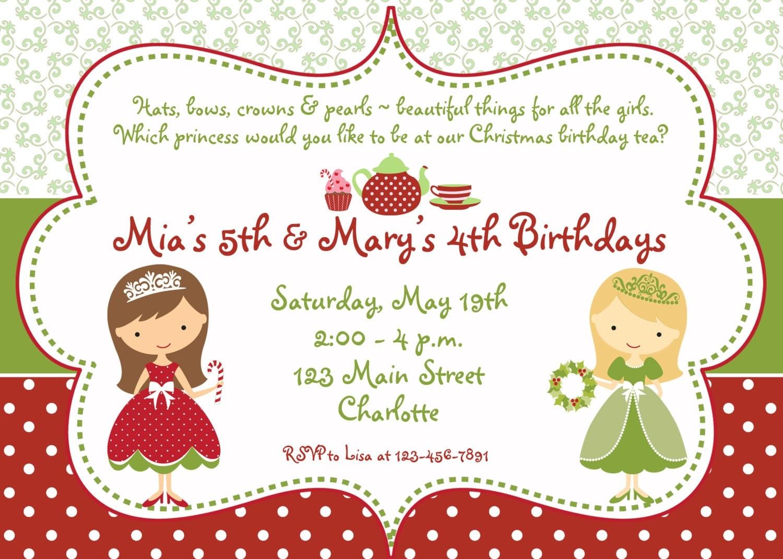 Princess Tea Party Christmas birthday party invitation – Tea Party Birthday Invitation Wording