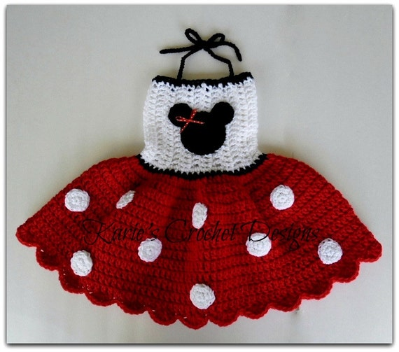 READY TO SHIP - Minnie Mouse Polka Dots Crocheted Dress Size 12-24 months