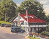 Linen Postcard Mohawk Trail Greenfield Massachusetts Postcard MA Rockledge Restaurant Fun Tourist Scene with Old Cars - Vintage Restaurant