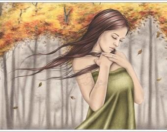 Changing Seasons Tree Leaves Fall Autumn Girl Emo Art Print Glossy Emo Zindy Nielsen