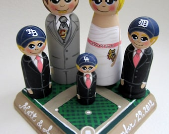 Wedding Cake Topper / Custom Painted Wood Peg Dolls/ Personalized Plaque / Couple Plus 3 small pegs and Plaque / sports