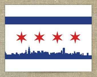 Chicago Flag Cards- set of 25 with envelopes for traditional, Bears, Cubs, White Sox, or Girly colors