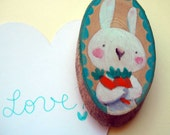 wooden magnet for your fridge, hand painted. Funny rabbit with carrots